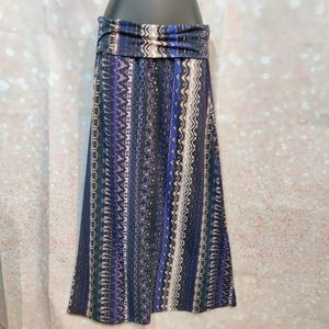 Purple Black and Ivory Aztec Tribal Maxi Skirt